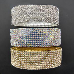 10 lignes de cristal strass Bracelets de cheville en argent plaqué or et couleur AB Chaîne de cheville élastiques Pierre stretch Bracelets de cheville pour les femmes