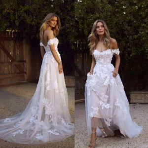 Новая страна Boho свадебные платья 2020 Sexy Backless A Line Off плечо аппликация тюль длинные летние свадебные платья чешский BM1510