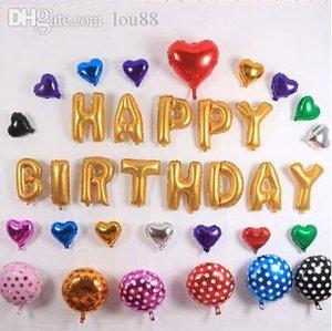 Toptan Satış - Toptan-13pcs / set 16 inç harf sayısı Alüminyum Film Altın Balon Mutlu Doğum Günü Partisi Dekorasyon Skordan Balonlar bir seçim var