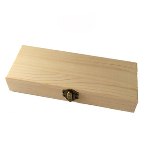 DIY Natural Wooden Boxes for Children Kids Rectangle Handmade Jewelry Crafts Storage Box Wood Lock Up Pen Case Pencil Organizer