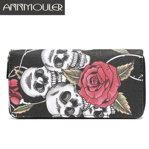 Annmouler Brand Women Wallets Large Size Card Holders Canvas Long Purse Skull and Rose Printed Zipper Card Holder Clutch Bags