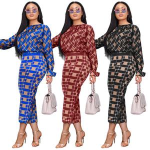 Frauen Designer Zweiteiler Kleid Mode Bluse und Röcke Sets 2ST Muster-Drucken-Langarm-Blusen, figurbetontes Kleid Set 2020 Datum