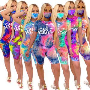 Frauen Anzug I CAN NOT BREATHE mit kurzen Ärmeln T-Shirt Shorts Gesicht Drei Maske Piece Anzug Outfits Tie-Dye Gradient Sport Anzug D62916