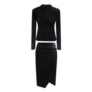 PERHAPS U женщины черный воротник стойка с длинным рукавом пуловер миди юбка-карандаш из двух частей элегантный весенний пуговица оболочка T0124