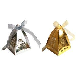 Festival de Ramadán 50pcs Laser Cut Hollow caja del caramelo de caramelo musulmanes Contenedores cielo abierto de la caja de oro de chocolate de almacenamiento de plata
