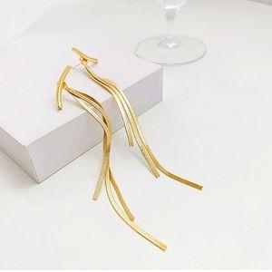 Long Thread Tassel Earrings Glossy Arc Geometric Earrings for Women Gold Silver Color Statement 1 Pair