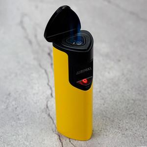 LUBINSKI 유도 모양의 노란색 방풍 시가 제트 토치 3 홀 불꽃 사랑 모양 블랙 색상 라이터