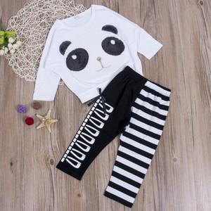 Детская одежда Девочки 2Pcs Прекрасные Panda ребёнки Panda футболка с длинным рукавом Топы полосатые гетры Bow Наряды одежды 2шт набор