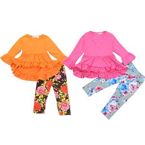 los pantalones florales 2pcs / set los niños ropa de niñas de manga larga impresa flor trajes trajes smoking del vestido de la colmena irregular arriba + chándal establece M719
