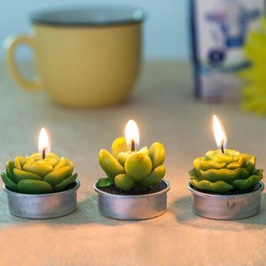 12PCS set Home Decor Cactus Candle Table Tea Light Garden Mini Wax Green Candles For Wedding Birthday Decoration Y200531