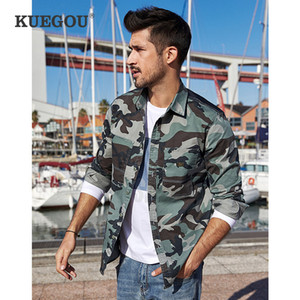 KUEGOU algodão spandex Homens camuflagem camisas de manga longa Lazer moda lapela camisa tamanho da camisa superior BC-6112