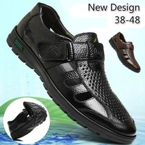 Homens Moda Verão Doug das sandálias de couro Walking Casual respirável Plano Praia Bullock Shoes
