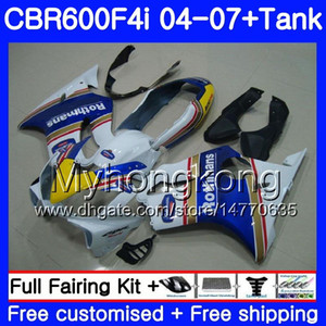Bodys For HONDA CBR600 FS CBR 600F4i 2004 2005 2006 2007 281HM.40 CBR600 F4i CBR 600 F4i Rothmans Blue hot CBR600F4i 04 05 06 07 Kit carena