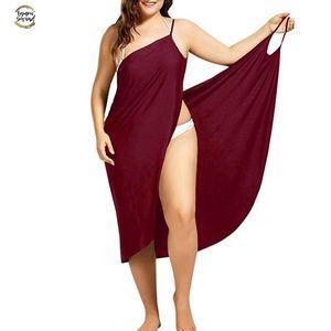 Summer Beach Dress couvrante vacances Beachwear femmes Robe de plage sexy Summber Casual Sarong dos nu manches Taille Plus Vestido