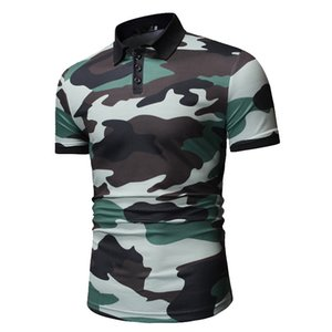 Sun New Style MEN'S T-shirt Youth Camouflage Slim Fit Cool Joint Printed Fold-down Collar Short-sleeved Top