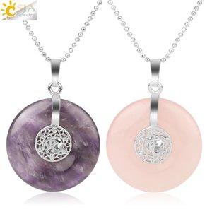 CSJA Natural Stone Hinduism AUM OM 3D Charms Pendant Healing Bead Yoga Meditation Pendants Necklaces Jewelry for Women Men G145