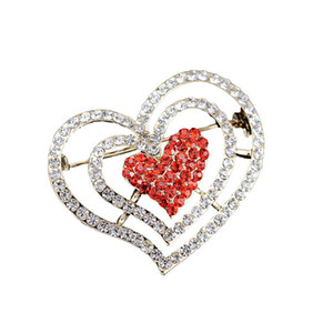 Doluo Strass a forma di cuore Spilla Pin Love Diamond Spilla Donna Lega petto filamento asciugamano fibbia gioielli 2019