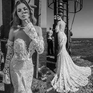 Julie Vino Vintage Mermaid Gelinlik Boho Sevgiliye Düşük Geri oversleeves Plaj Dantel Aplikler Boncuklu Gelin Törenlerinde robe de mariée 2019