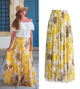 Floral Women Print Chiffon Skirt Ladies Women High Waist Floral Evening Party Long Maxi Skirt Beach Skirt