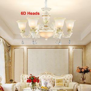Новый дизайн в европейском стиле роскошь смолы хрустальных люстр освещение стекло абажур белой люстра фара подвесных светильников LED регулируемой