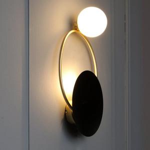 Designer de vidro Lâmpada de parede Redonda esférico metal Wall Lights Villa Living Room Bedroom Aisle Modelo quarto de banho RW27