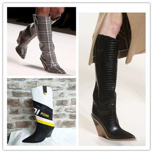 Mode Pointu Designer Etrange High Heels Cuir véritable Femmes Chaussures New automne Bottes hiver longue femme Boots35-43 Runways
