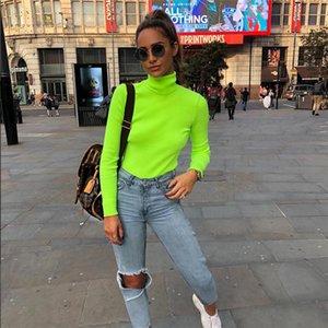 2019 Polyester Winter-Shirts Frühlings-T-Stücke T Shirt Frauen Tops Fashion Solid Langarm-beiläufig gestrickt T Regular Female Tops