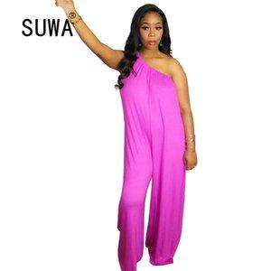 Chic Verão terno de salto para mulheres Macacões Festival roupa sexy Collar 2020 New Product Skew perna larga macacãozinho Klalien Calças