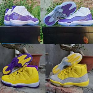 2020 Nouvelle 11 XI WMNS métalliques Argent 11s Jaune Hommes Chaussures de basket-Blanc Violet haute qualité Jumpman sport Baskets Chaussures Taille 13