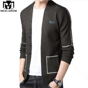 MIACAWOR marca originale Maglione Uomini modo di alta qualità lavorato a maglia Cardigan Uomo maglioni di lana Slim Fit Pull casuale Homme Y138
