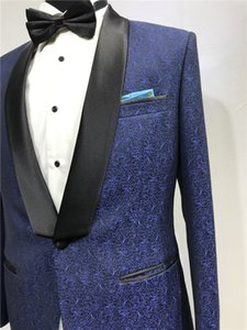 SEDBOJ Print Wedding Suit Blue Man jacket and Black Pants Tailor Suit Blazer Custom Made Man Suit Stage Wear Clothes