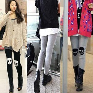 Fashion Womens Skull Head Print High-waist Cotton Stretch Leggings Pants Free Shipping uio