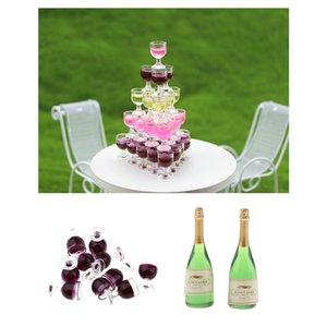 10pcs / set Mini Verre à vin Bouteilles Dollhouse Miniature Échelle 1:12 Scène Modèle DÉCORATION Bar Dollhouse Pub Fournitures de cuisine