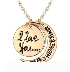 Fashion korean Beautifully Jewelry Cheap I Love You To The Moon and Back Silver Gold Necklace Lobster Clasp Pendant Necklaces