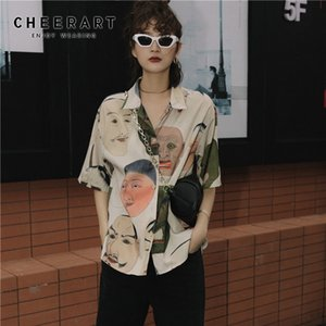 CHEERART Japanese Streetwear Ukiyoe Print Summer Blouse Women 2020 Collared Button Up Shirt Short Sleeve Top And Blouse Clothing Y200622