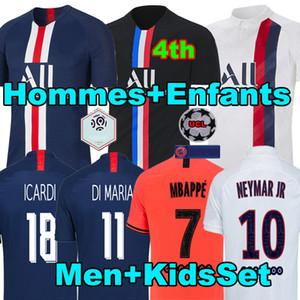 Maillots de kit de fútbol Jersey de fútbol PSG 19 20 2019 2020 Camisetas jersey París Mbappé ICARDI Marquinhos de la camisa de futbol cuarto Hombres Set Niños