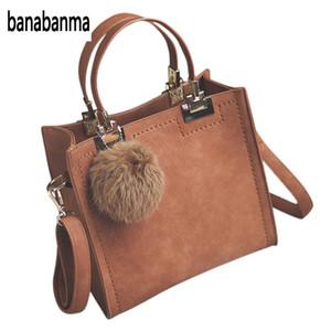 Banabanma Art und Weise PU-Lederhandtasche Frauen beiläufige große Einkaufstasche Dame Shoulder Messenger Bags mit Pelz-Kugel-Büro Ladie ZK30