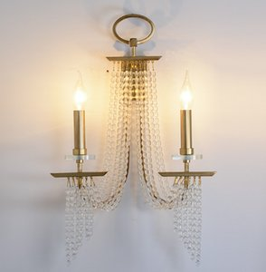 Fringe designer wall lamp crystal beads wall sconce luxury Champagne gold lighting in bedside luxury wall mirror light for hotel LLFA
