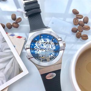 Assista Moda Watc negócio dos homens pulseira de borracha de vidro de luxo da Men Automatic Relógio Mecânico Três Needle Sapphire
