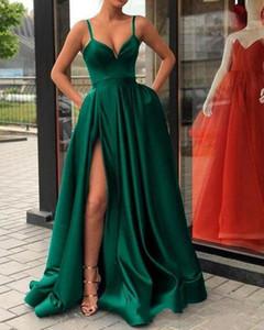 High Split Evening Dresses with Dubai Middle East Formal Gowns Party Prom Dress Spaghetti Straps Plus Size Vestidos De Festa