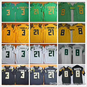 Marcus Mariota 8 Royce Freeman 21 Vernon Adams Jr 3 costurados Oregon Ducks College camisas de futebol