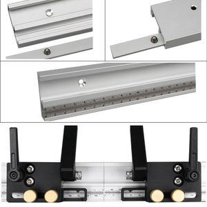 مع مقياس سبائك الألومنيوم workbench جهاز التوجيه المحمولة أداة المهنية النجارة ميتري مسار تعديل الجدول diy توقف المنزل