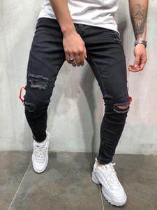 Pantaloni Zip piede nero dei jeans del foro Jeans aderenti piedi degli uomini alla moda di uomo del piede Zip Jean Tasche Tuta L0014