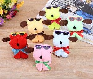 Toalla de microfibra lindo multicolor caliente nuevas gafas de sol de la torta perro normal Forma de toallas de algodón paño con los regalos de boda menor de la caja del paquete
