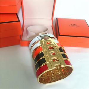 Alta calidad de la plata del oro de lujo de la joyería del esmalteHpulseras talladas de mujeres hombres pulsera decorativa patrón con la caja 678