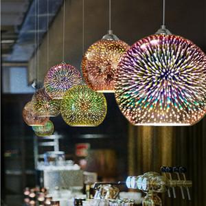 creatività moderna ciondolo LED luce la personalità di progettazione 3D lampada a sospensione in vetro colorato placcato lampada a sospensione Mirror Ball E27