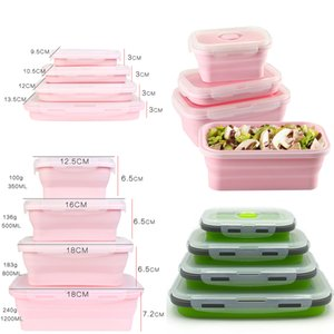 4Pcs set Silicone Folding Bento Box Collapsible Portable Lunch Box for Food Dinnerware Food Container Bowl For Children Adult T200530