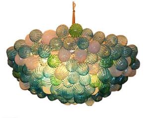 Nueva Soplado burbuja de cristal iluminación de la lámpara de moda moderna de la lámpara hecha a mano soplado burbuja de cristal pendiente de la luz de los bulbos con el LED