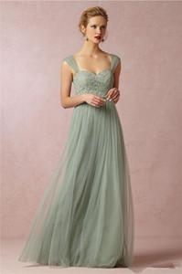 2020 Nouveau Sage vert princesse longue de demoiselle d'honneur robes fines bretelles dentelle Tulle filles ligne robe de soirée de mariage formelle robe de bal du soir