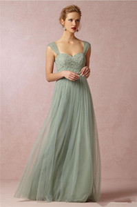 2020 New verde prudente Princesa longos vestidos da dama Spaghetti Strap Lace Tulle A Linha meninas do casamento formal do partido Vestido Vestido Prom